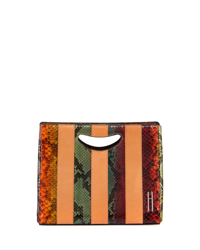 1712 Basket Colorblock Python Clutch Bag