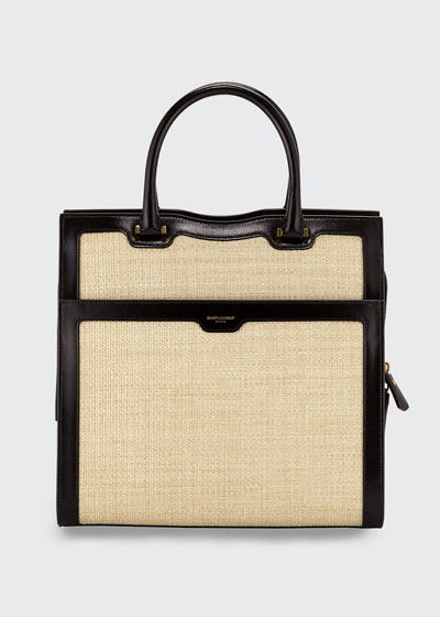 Uptown Medium Monogram YSL Leather/Raffia Satchel Bag