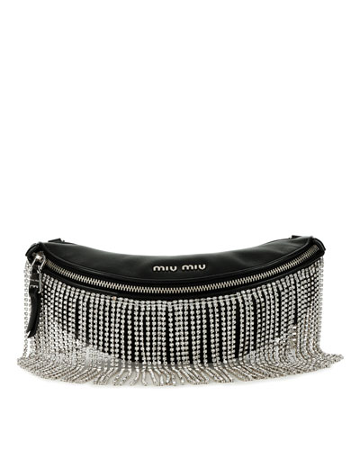 Crystal Fringe Napa Leather Fanny Pack/Crossbody Bag