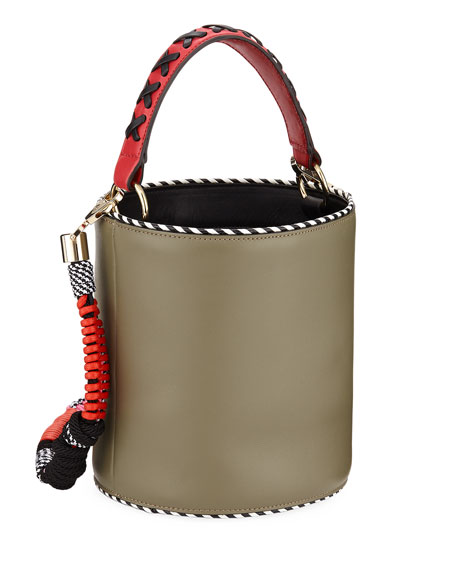 Olivia Leather Twisted Piping Bucket Bag