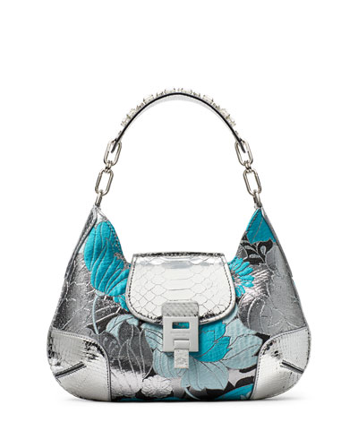 Summer Floral Metallic Brocade & Python Shoulder Bag