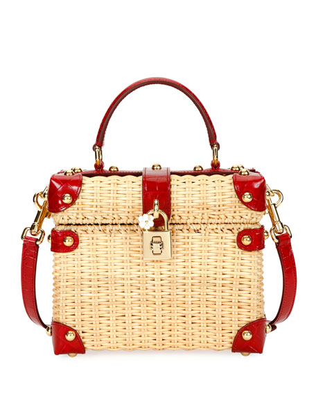 Wicker and Leather Top-Handle Bag