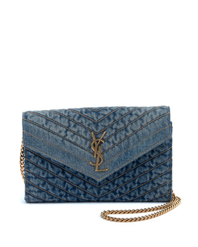 Monogram YSL Medium Denim Wallet on Chain