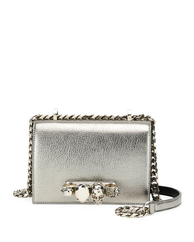 Small Metallic Jeweled Knuckle Flap Shoulder Bag