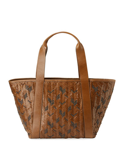 Woven Monili and Leather Tote Bag