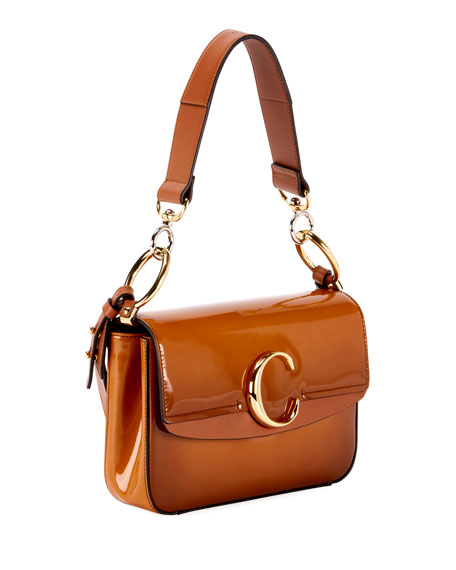 C Small Glossy Calf Shoulder Bag
