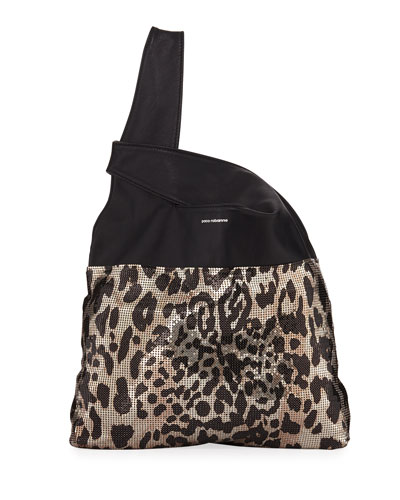 Leopard Mini Mesh Hobo Tote Bag