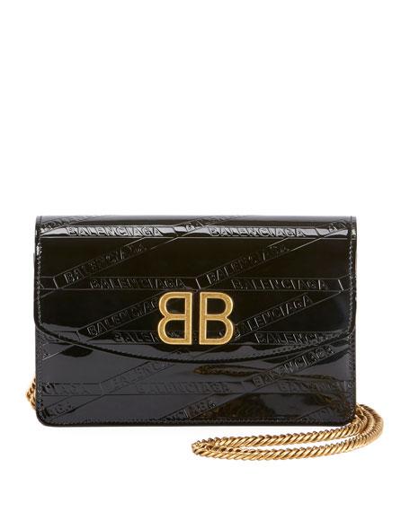BB Logo-Embossed Patent Wallet On Chain - Golden Hardware