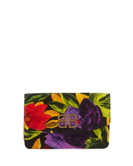 Balenciaga BB Floral Velvet Wallet On Chain