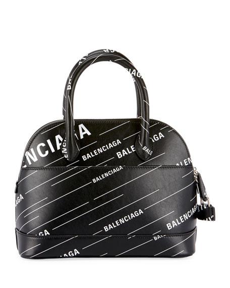 Ville Small AJ Logo-Print Leather Top-Handle Bag