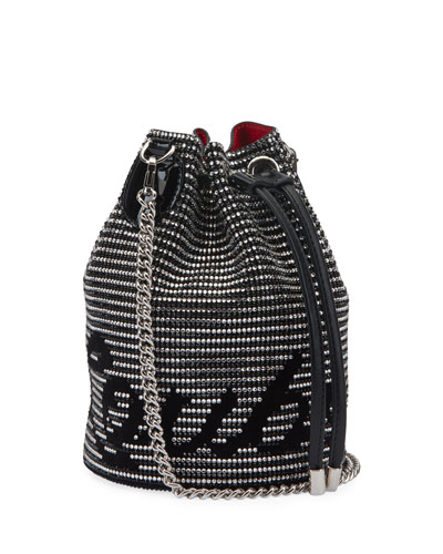 Marie Jane Suede Bucket Bag with Crystal Stripes b42816710e