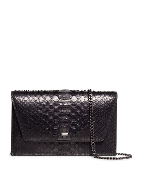 Image 1 of 1: Anouk Python Snakeskin Envelope Clutch Bag