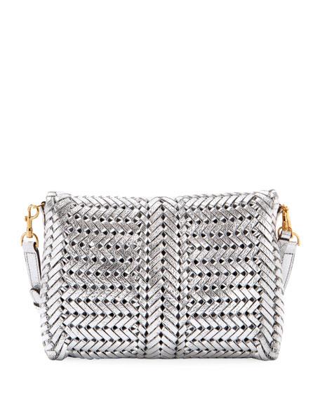 The Neeson Woven Metallic Leather Crossbody Bag