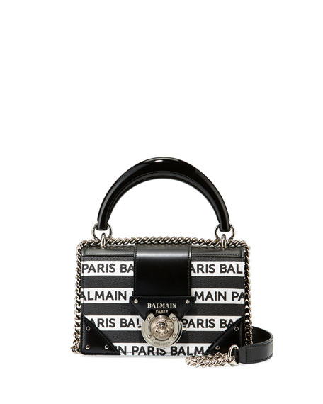 Balmain Ring Box Leather Shoulder Bag