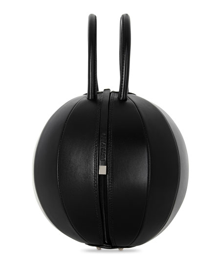 PILO Leather Circle Top Handle Bag, Black