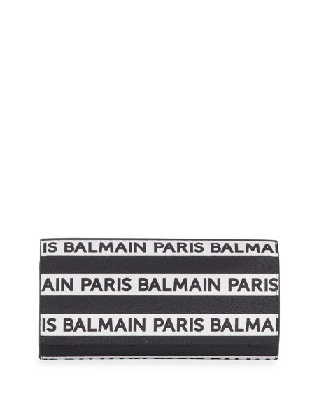 Balmain Logo Stripe Leather Wallet On Chain