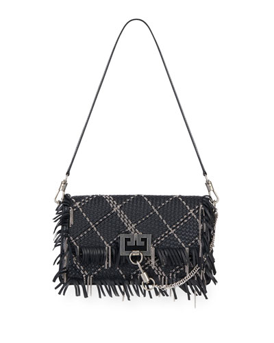 Charm Small Woven Leather Shoulder Bag