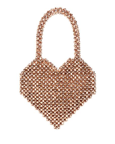 Maria Beaded Heart-Shape Top-Handle Bag