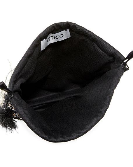 Metallic Beaded Drawstring Pouch Bag
