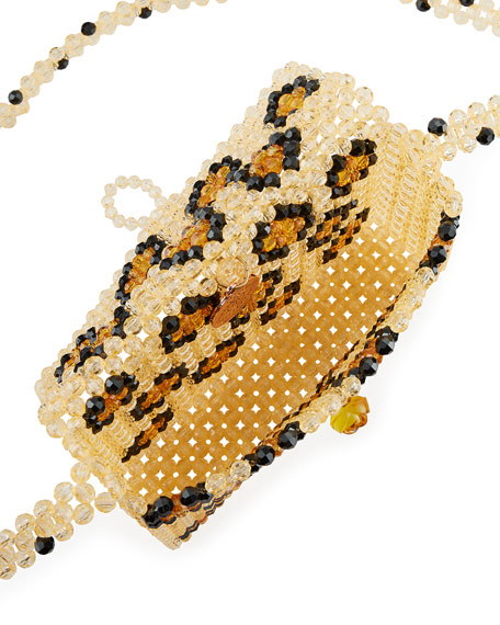 Rawr Leopard Beaded Crossbody Bag