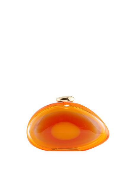 Ariel Smooth Minaudiere Clutch Bag, Bright Orange