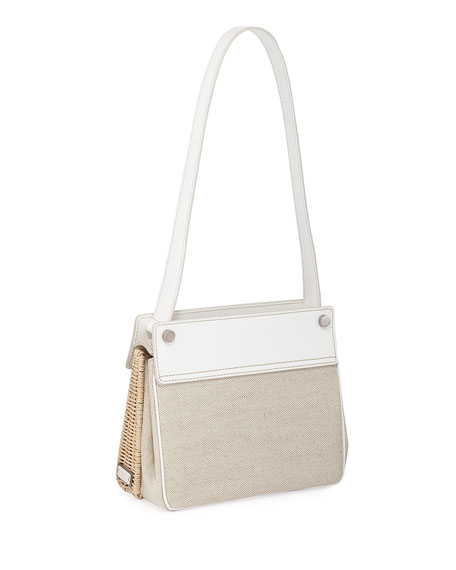 Wicker and Linen Shoulder Bag