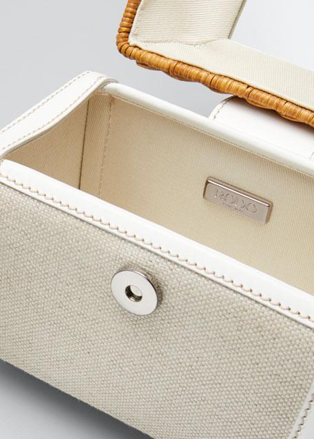Wicker and Linen Box Top Handle Bag