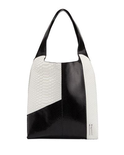 Grand Shopper Python Tote Bag  Black/White