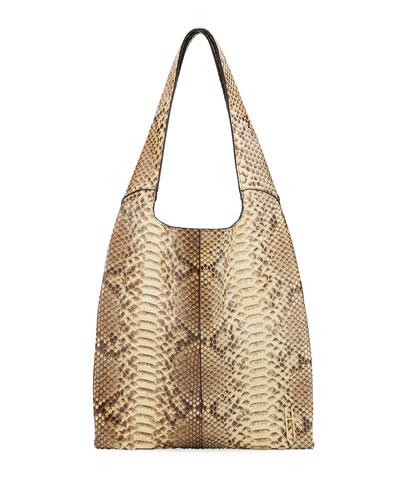 Grand Shopper Python Tote Bag  Taupe