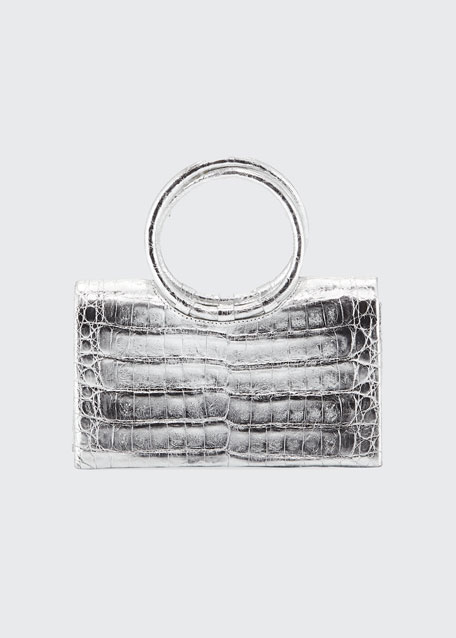 Image 1 of 1: Regina Small Crocodile Circle-Handle Clutch Bag