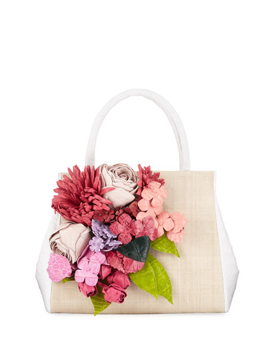Floral Daisy Crocodile Top-Handle Bag