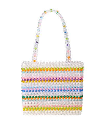 Merry Striped Beaded Top-Handle Bag