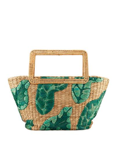 8e4845ee94 Cherine Embroidered Raffia Top-Handle Bag