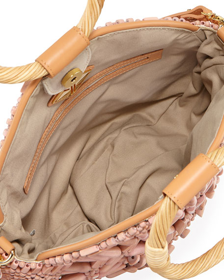 Shell Sunburst Round Top-Handle Bag, Pink