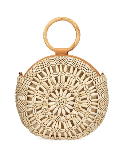 Shell Sunburst Round Top-Handle Bag  Cream