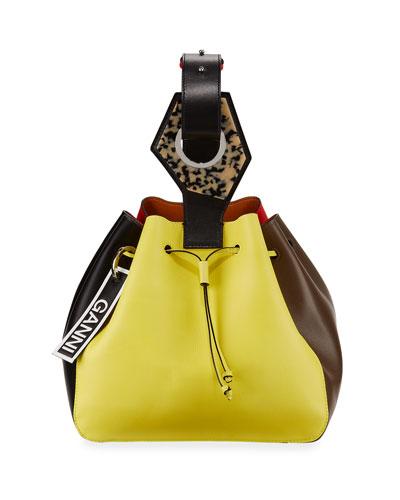 Colorblock Cinch Bucket Bag