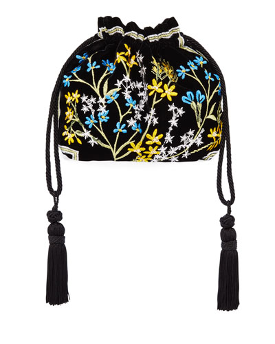 Chatelaine Ricamo Embroidered Velvet Clutch Bag