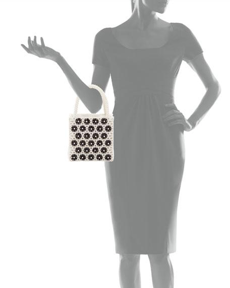 Antonia Flower-Beaded Top Handle Bag, Cream