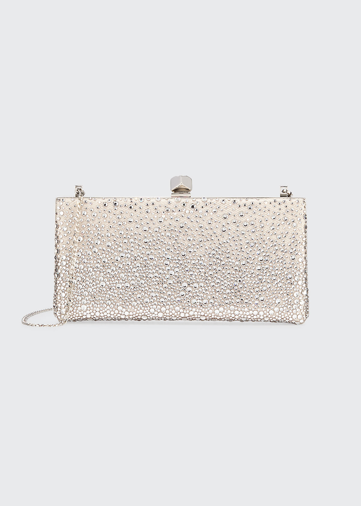 Jimmy Choo Celeste Sprinkled Crystal Mesh Frame Clutch In Pink