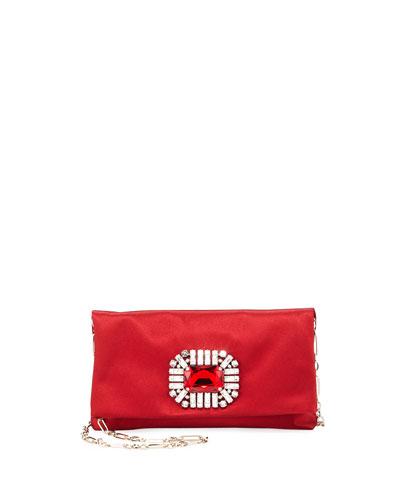 Titania Jeweled Satin Clutch Bag  Red