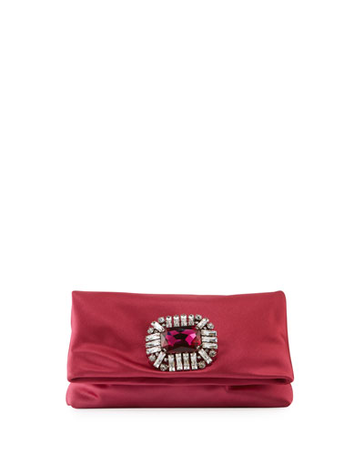 Titania Jeweled Satin Clutch Bag  Pink