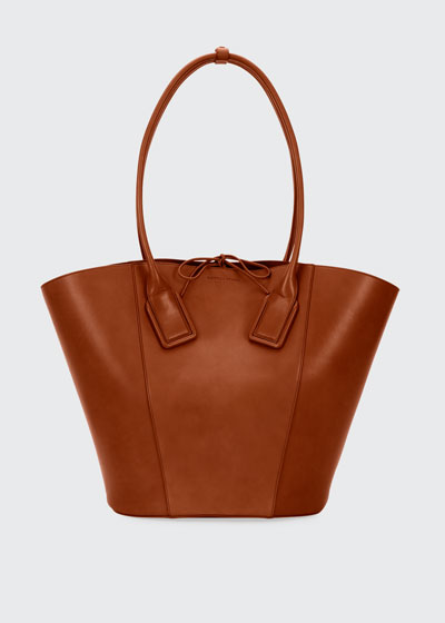 Large Smooth Leather Bucket Tote