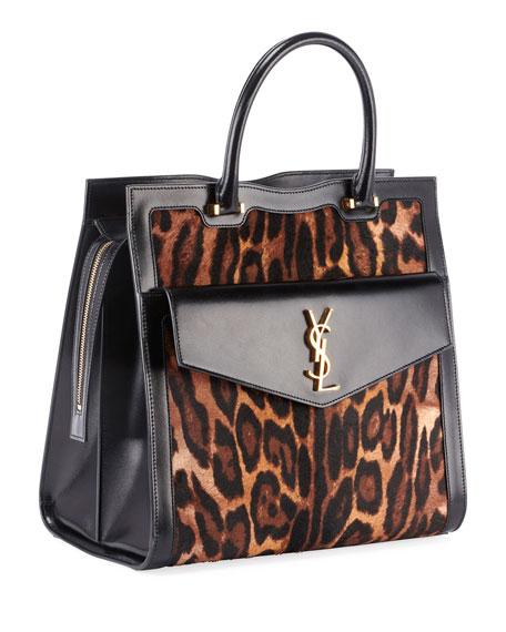 Uptown Leopard Fur Tote Bag