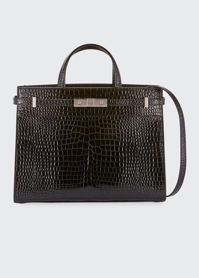 Manhattan Small Crocodile-Embossed Tote Bag
