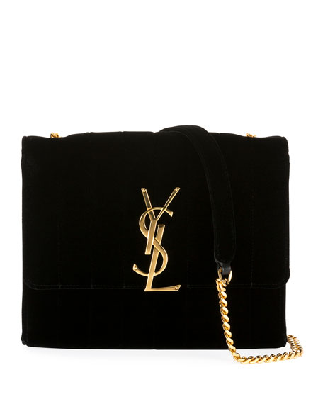Vicky Velvet Wallet On Chain by Saint Laurent