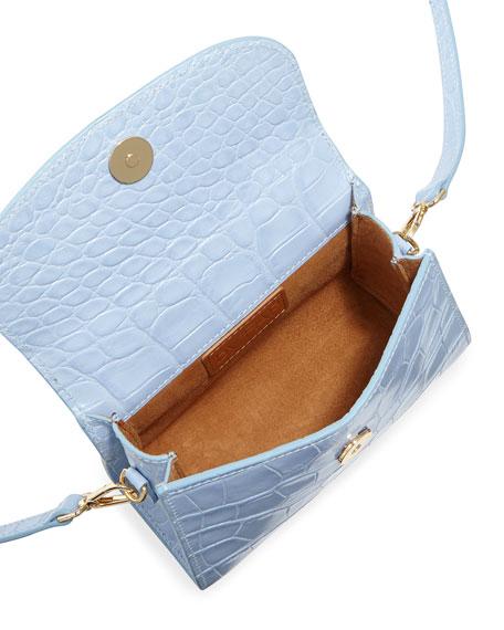 Mini Croc-Embossed Leather Top-Handle Bag, Sky