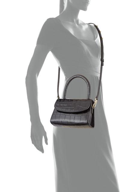 Crocodile-Embossed Mini Top Handle Bag