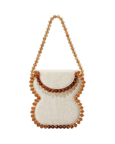 Frida Beaded Linen Top-Handle Bag