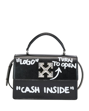 Off-White Jitney Cash Inside Top Handle Bag, Black/White