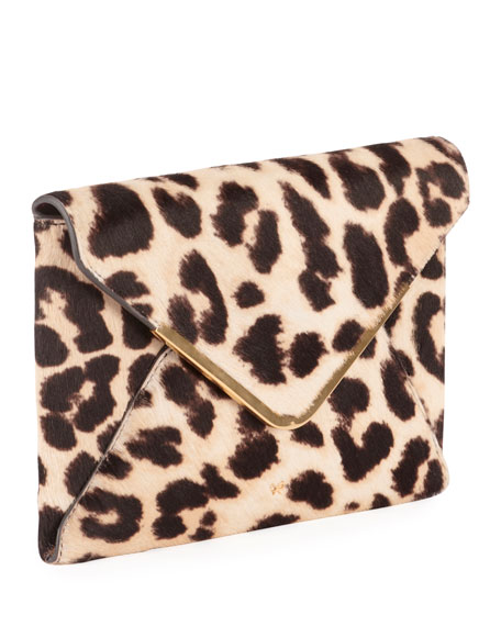 Postbox Leopard Envelope Clutch Bag